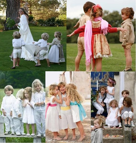 Pajes y damitas para una boda campestre pajesagrupada