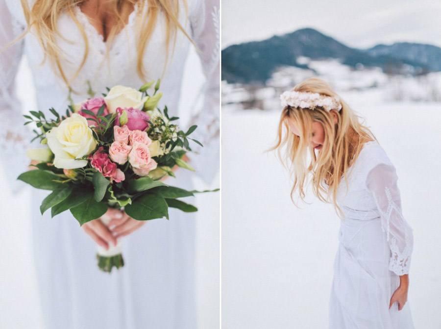 SARAH & IAN: BODA BOHEMIA EN LA NIEVE novia-boho-chic