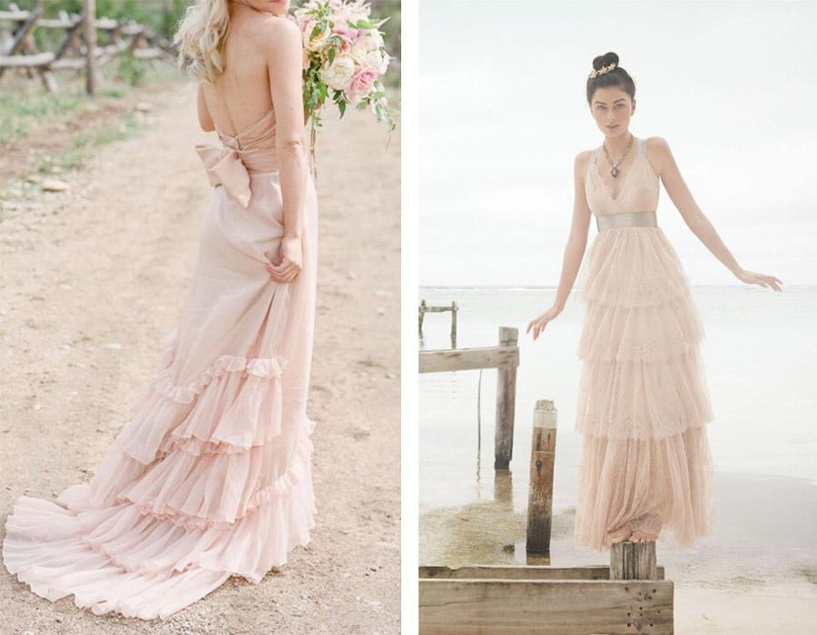vestidos de novia en rosa cuarzo - blog de bodas de una boda original