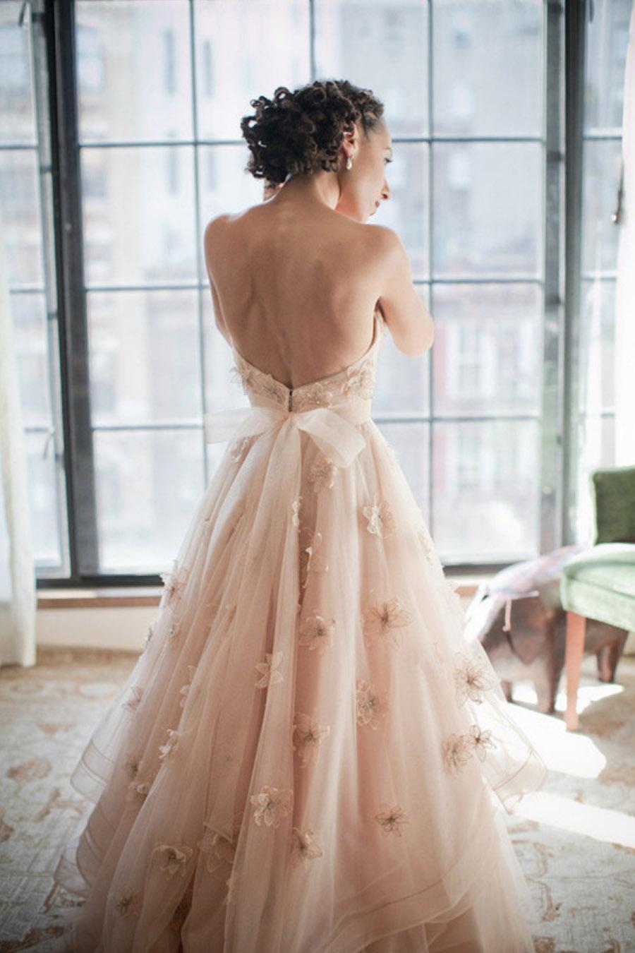Vestidos de novia color rosa pastel
