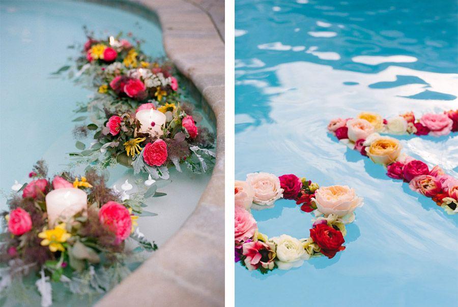 DECORACIÓN DE PISCINAS flores-piscina