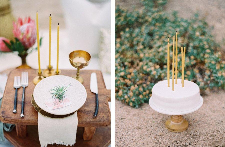 INSPIRACIÓN BOHEMIA EN EL DESIERTO pastel-boda
