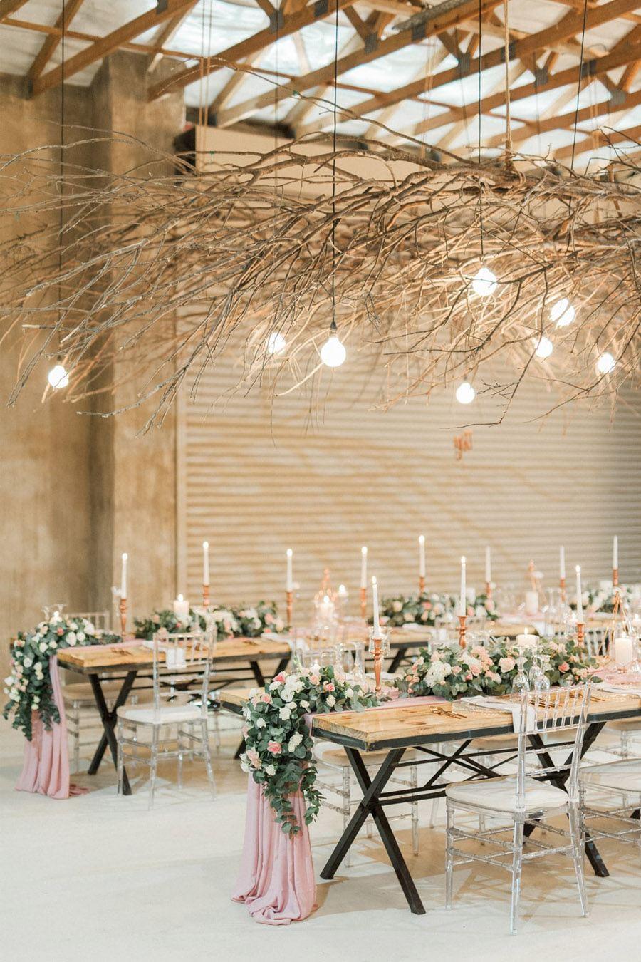 Decoración de boda rosa y dorado - Boda rústica 6