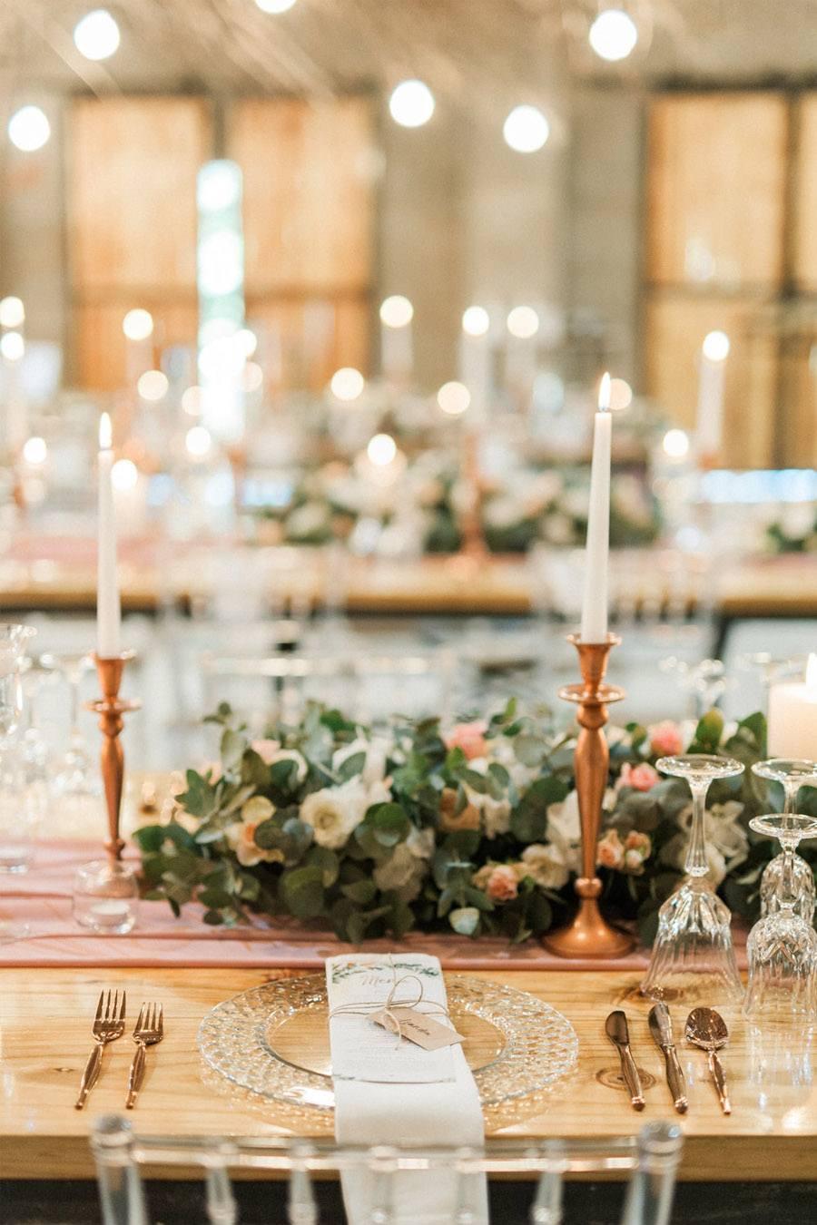 Decoración de boda rosa y dorado - Boda rústica 7