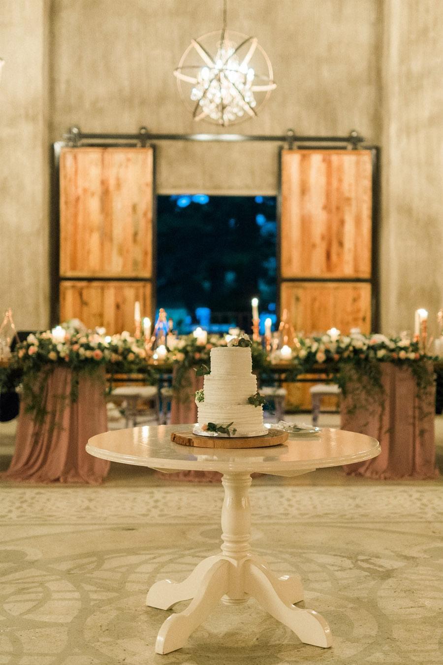 Decoración de boda rosa y dorado - Boda rústica 8
