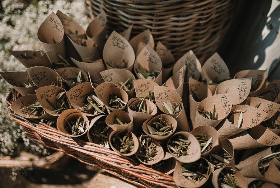 NATALIA & DAVID: UNA SENCILLA BODA DE CAMPO conos-olivo-boda