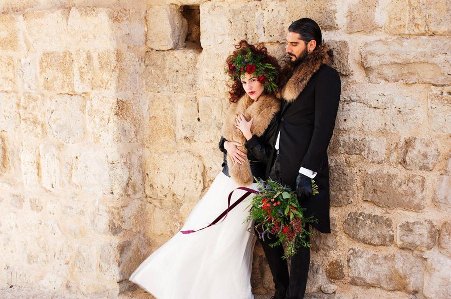 AMOR EN CAMPOS DE CASTILLA novios-boda-de-invierno