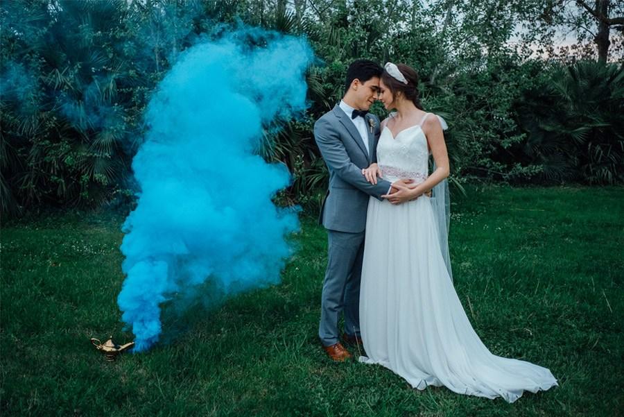 UNA MÁGICA BODA ALADDIN humo-colores-boda