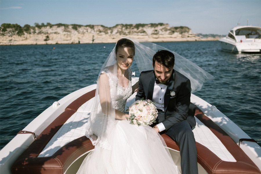 GEA & VALERIO: BODA EN NÁPOLES novios-barca