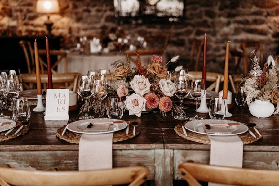 FLORINE & FLORIAN: ROMÁNTICA BODA DE OTOÑO mesa-boda-otono