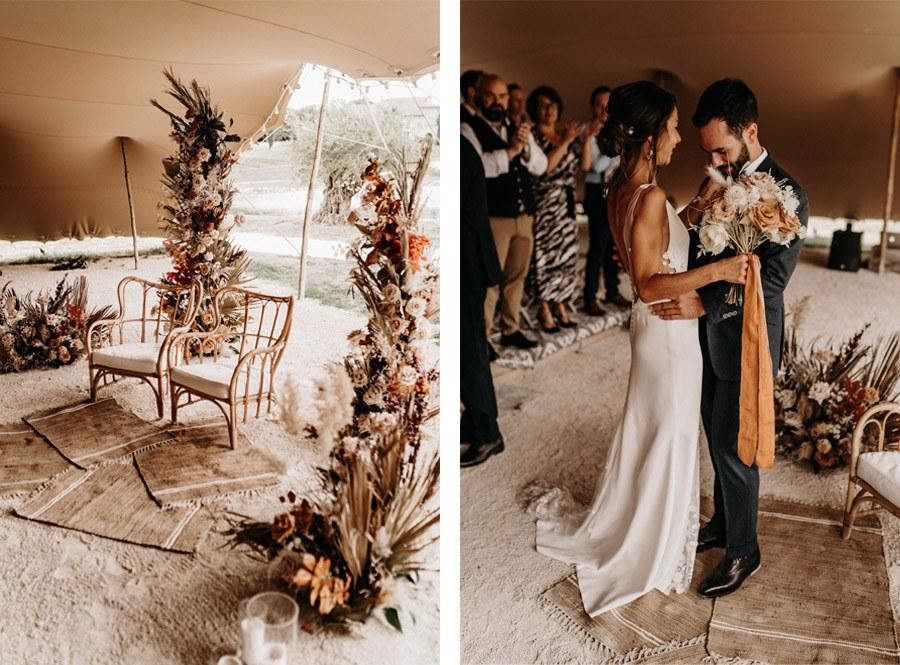 FLORINE & FLORIAN: ROMÁNTICA BODA DE OTOÑO novios-ceremonia
