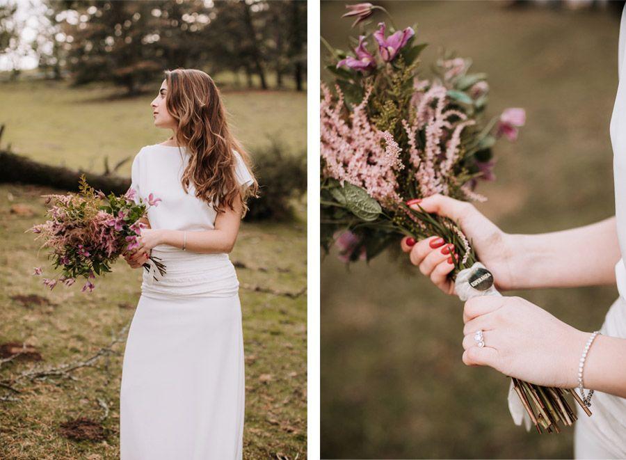 UNA BODA ÍNTIMA EN EL MONTE VASCO bouquet-novia