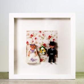 Ideas originales para bodas cuadro-playmobil