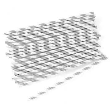 Cañitas rayas plata 25 uds.