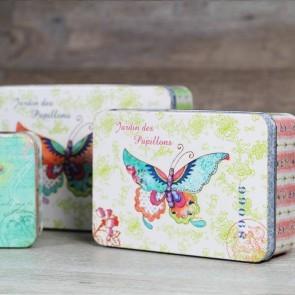 Cajitas de metal de mariposas