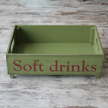 Caja vintage Soft Drinks verde