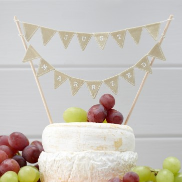 Cake topper Just Married beige