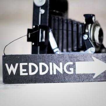Cartel de madera Wedding