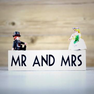 Cartel de madera Mr Mrs