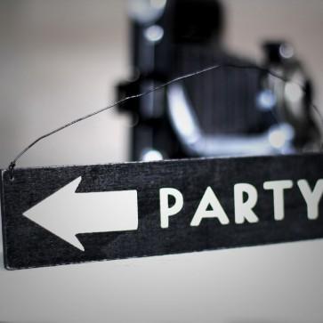 Cartel de madera Party