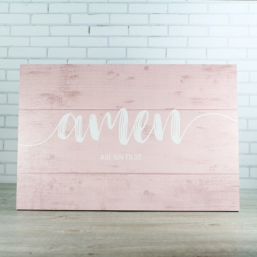 Cartel Amen madera