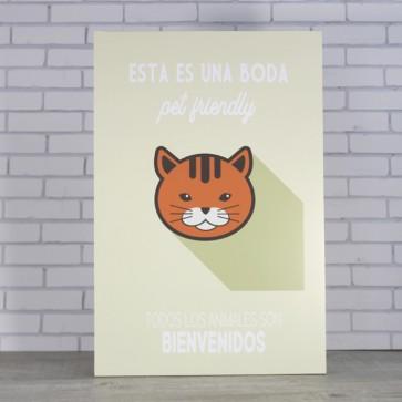 Cartel para gatos en tu boda