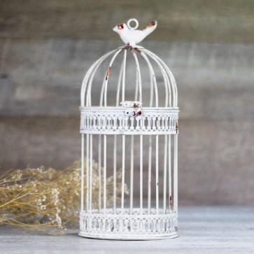 Comprar jaula blanca envejecida decorativa