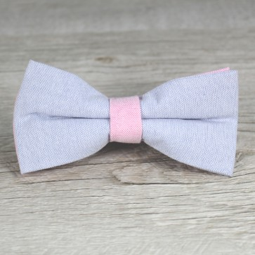 Pajarita azul y rosa palo
