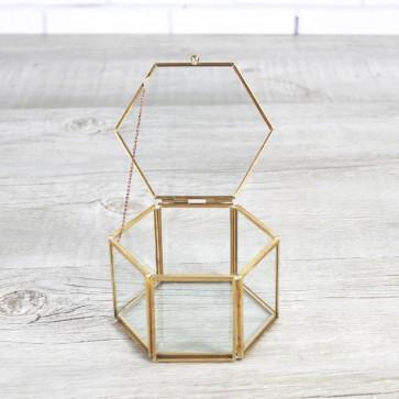 Porta alianzas hexagonal dorado