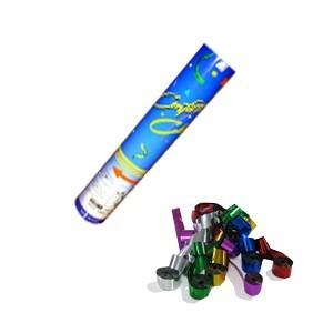Lanzador manual serpentinas multicolor metalizado 30 cm.
