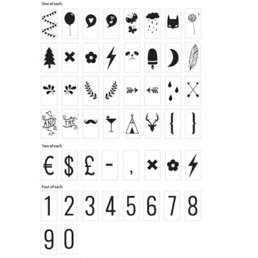 Set de 85 números y símbolos para lightbox