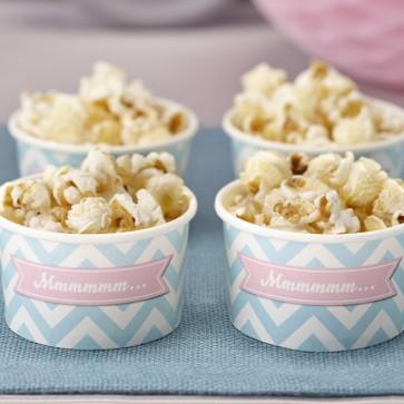 Tarrinas de helado desechables azul celeste chevron