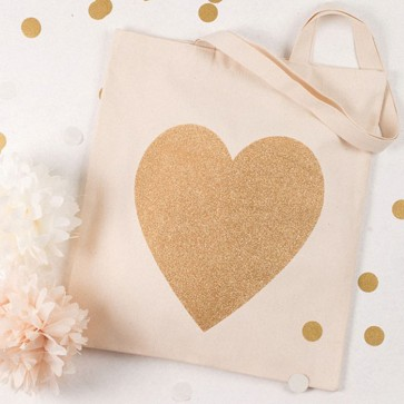Bolsa de tela corazón glitter