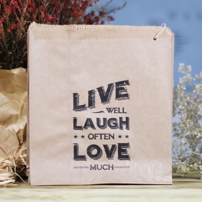 Bolsa kraft live laugh love 40 uds una boda original - Bolsas de regalo personalizadas ...