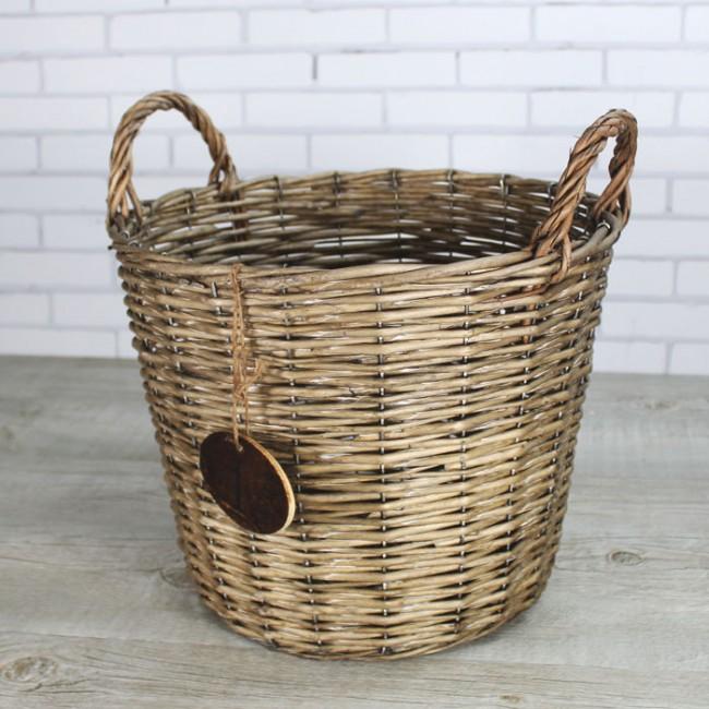 Cesta de mimbre redondas una boda original - Como forrar cestas de mimbre ...