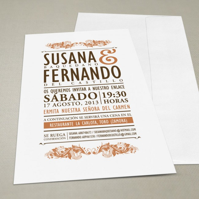 Invitaci n de boda vintage con sobre una boda original for Cena original y sencilla