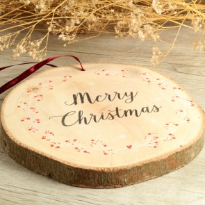 Rodaja de madera Merry Christmas