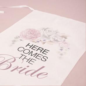 Banderín gigante y funda para silla Here Comes the Bride tela y flores