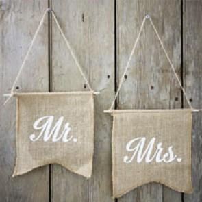 Banderines Mr Mrs para silla
