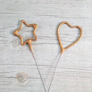 Bengalas doradas corazón y estrella