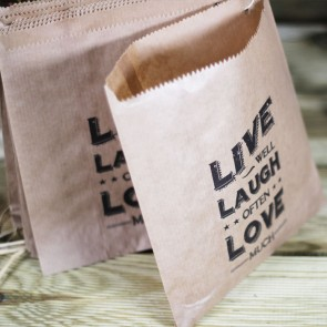 Bolsa kraft Live Laugh Love (40 uds)
