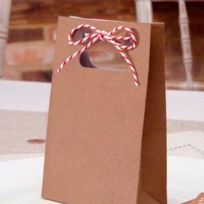 Minibolsita kraft con cinta roja y blanca