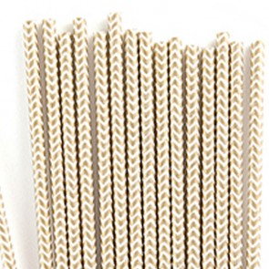 Cañitas rayas doradas chevron 25 uds.