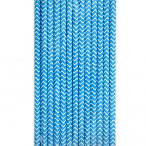 Cañitas rayas azules chevron 25 uds.