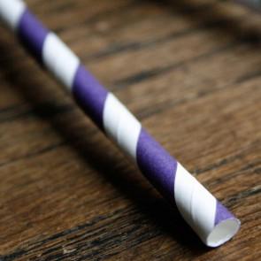 Cañitas rayas púrpura 25 uds.