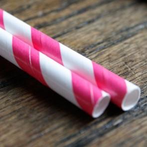 Cañitas rayas rosa fuerte 25 uds.