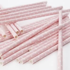Cañitas rosa palo con lunares blancos