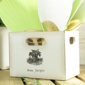 Caja de madera blanco decapado