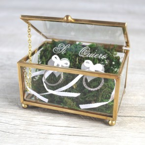 Caja porta alianzas de cristal