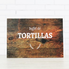 Cartel Buffet de tortillas rústico